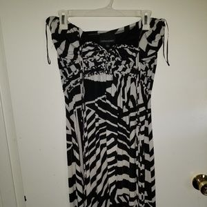 Cynthia Rowley halter dress black and white